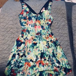 Multicolored Floral Tank Dress with half-open back